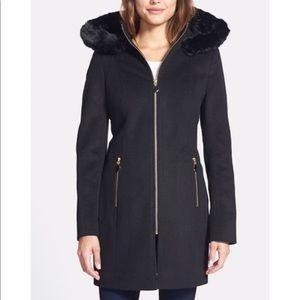 Tahari faux fur hood wool coat